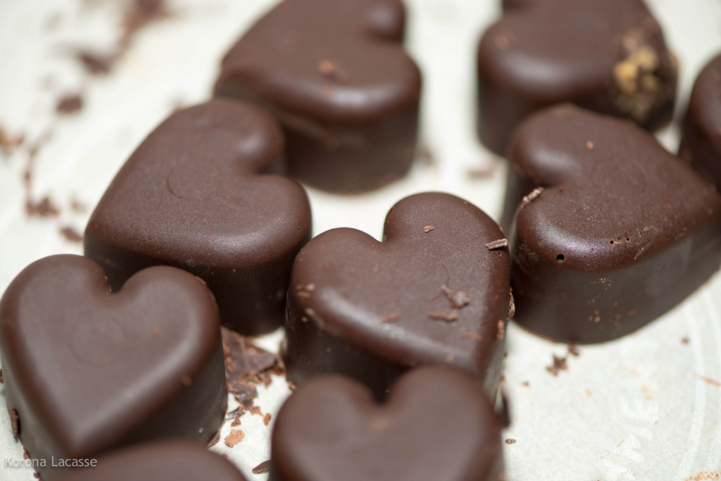 A box of chocolate hearts is a common gift on Valentine's Day.