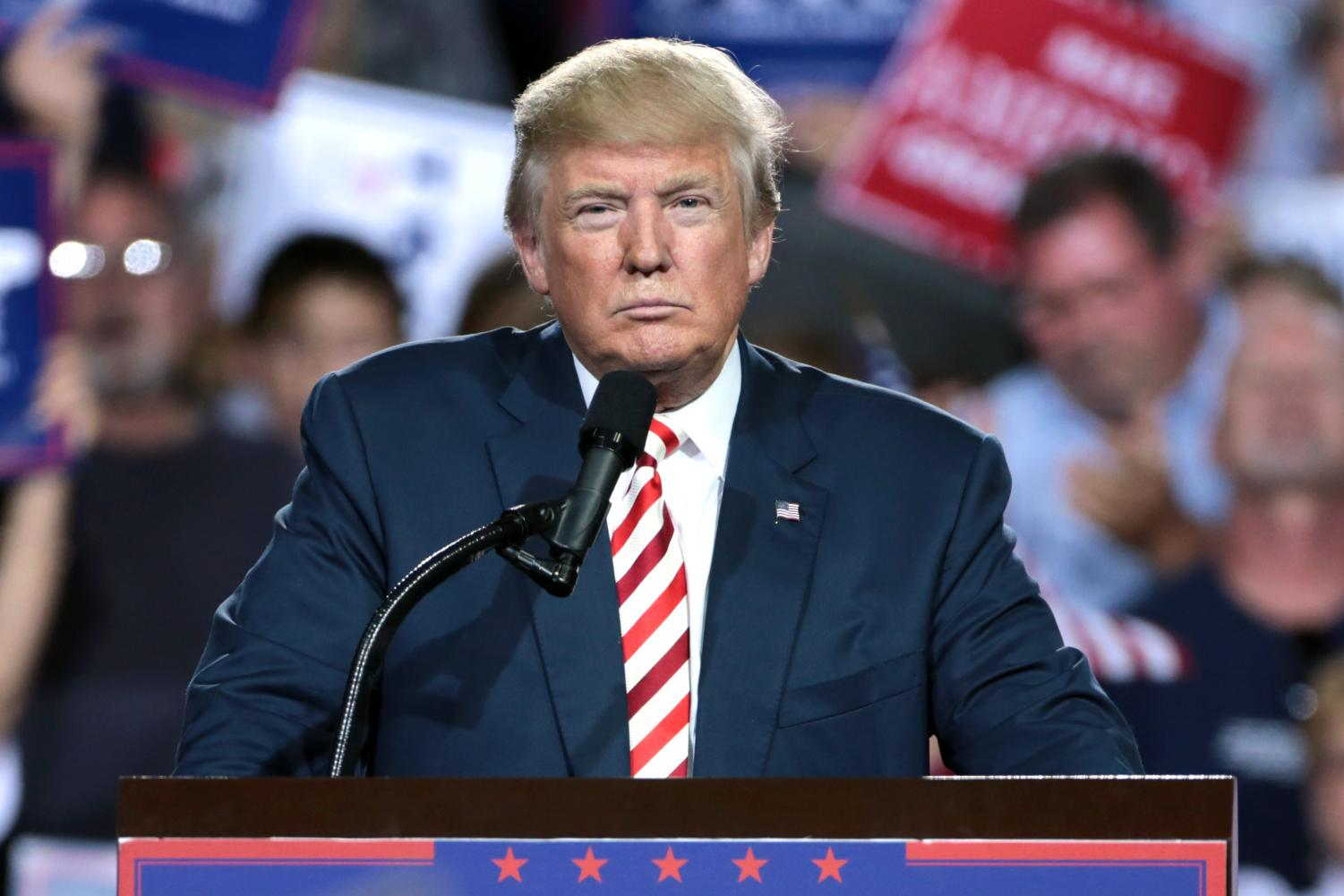 President Donald Trump addressing a crowd. Photo via Wikimedia Commons under the Creative Commons License.