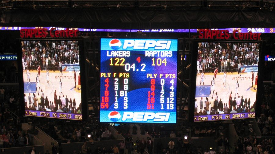 Seen here is the scoreboard from the legendary game where Kobe Bryant scored 81 points. (Lakers #8)