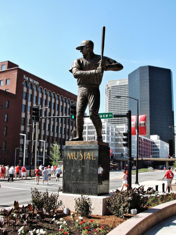 Seen here is the memorial for Cardinals legend Stan Musial that can be seen outside of the stadium in St. Louis.
