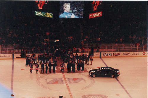 Seen here is the scene from Wayne Gretzky's last NHL game.