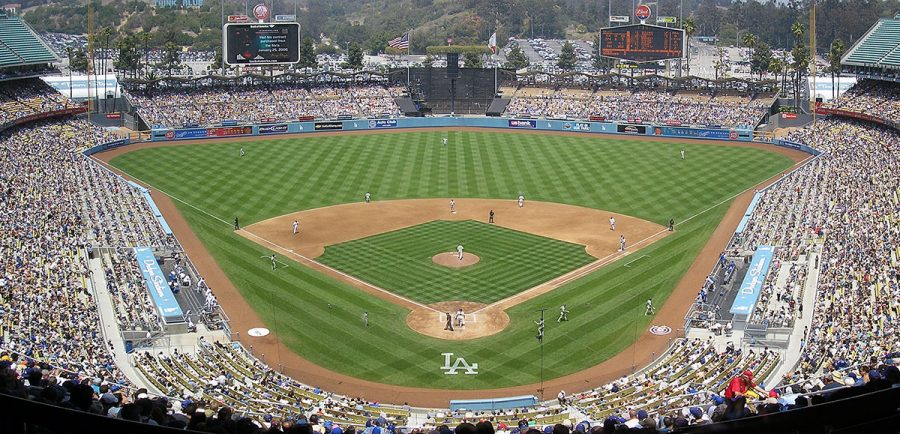 Seen+here+is+Dodger+Stadium+in+Los+Angeles%2C+which+was+not+finished+until+four+years+after+the+Dodgers+moved+from+Brooklyn.