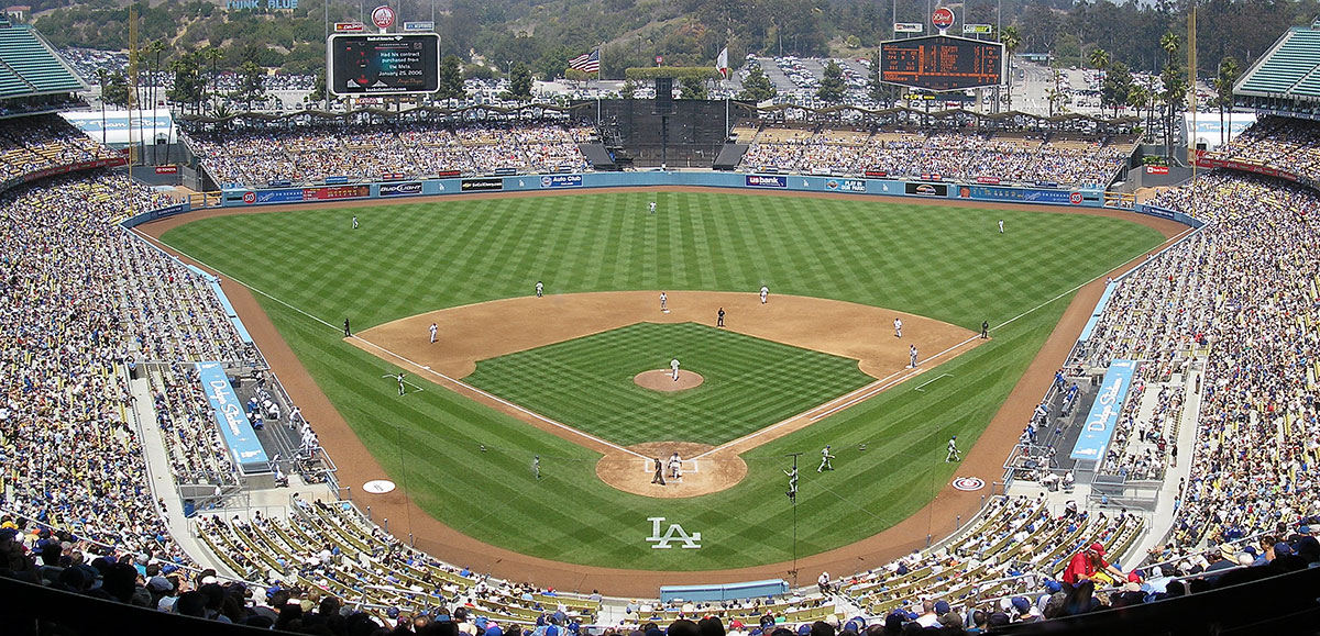 Seen here is Dodger Stadium in Los Angeles, which was not finished until four years after the Dodgers moved from Brooklyn.
