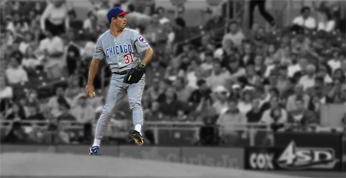 Seen here is MLB pitching legend, Greg Maddux, pitching for the Chicago Cubs, the team he started his career with.