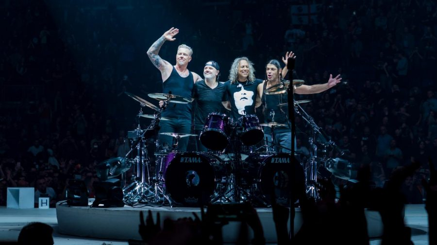 Thanking the fans for coming, Metallica is pleased with the turnout.