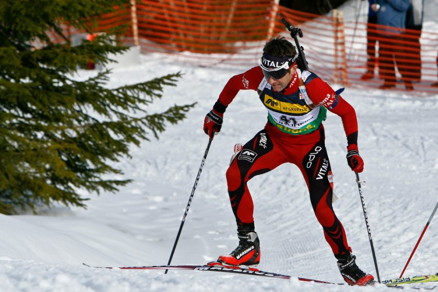 Seen here is Norwegian athlete, Ole Einar Bjørndalen, competing in a biathlon, where he has won 13 Olympic medals.
