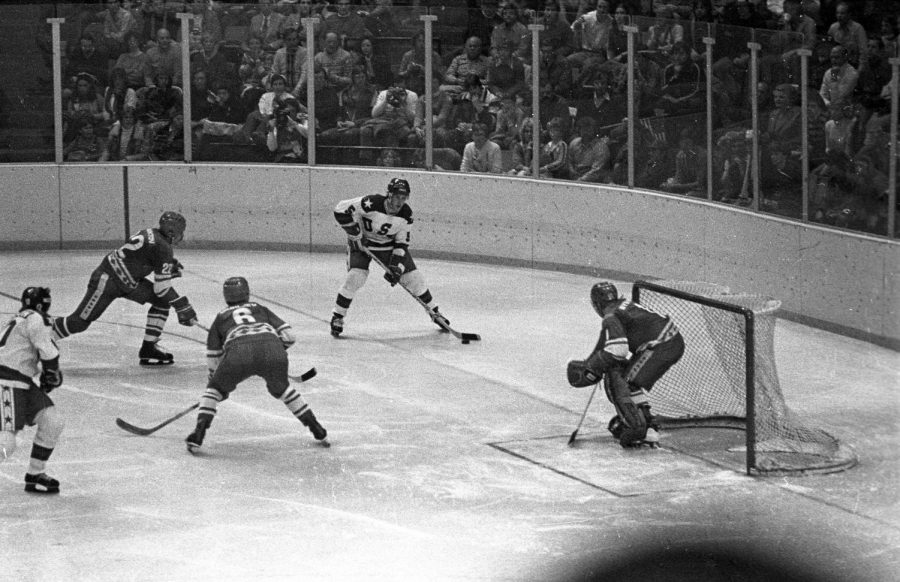 Seen here is a photo featuring the USA amateur team on offense in route to their 4-3 win over the heavily favored Soviet Union team.
