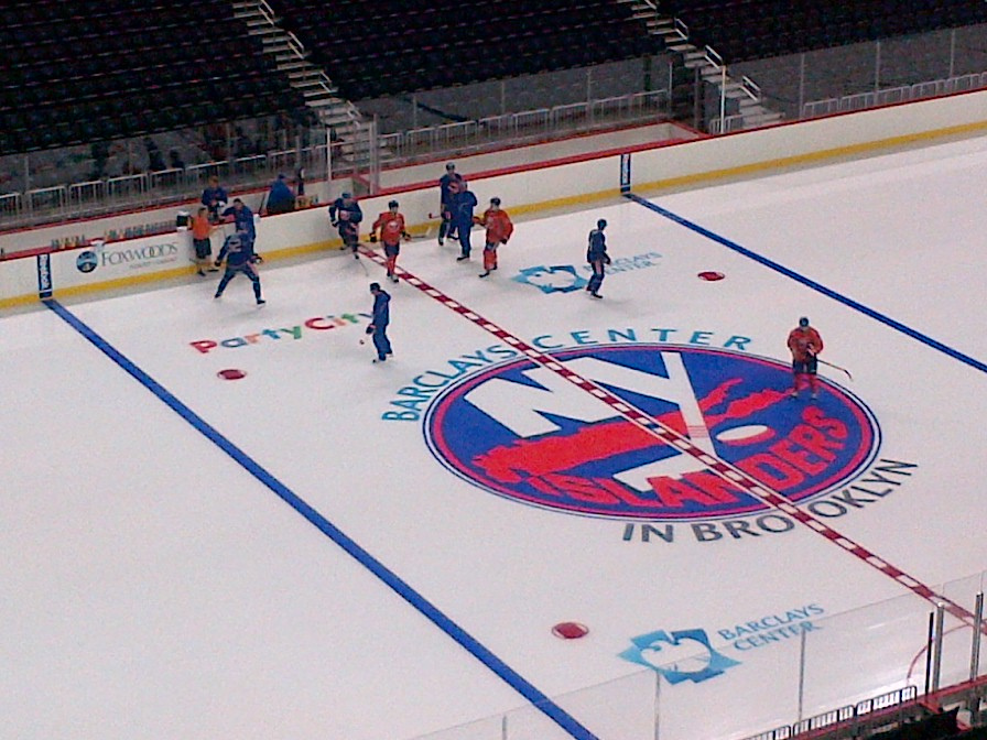 Seen here is the NY Islanders home arena, showing their logo on the ice.