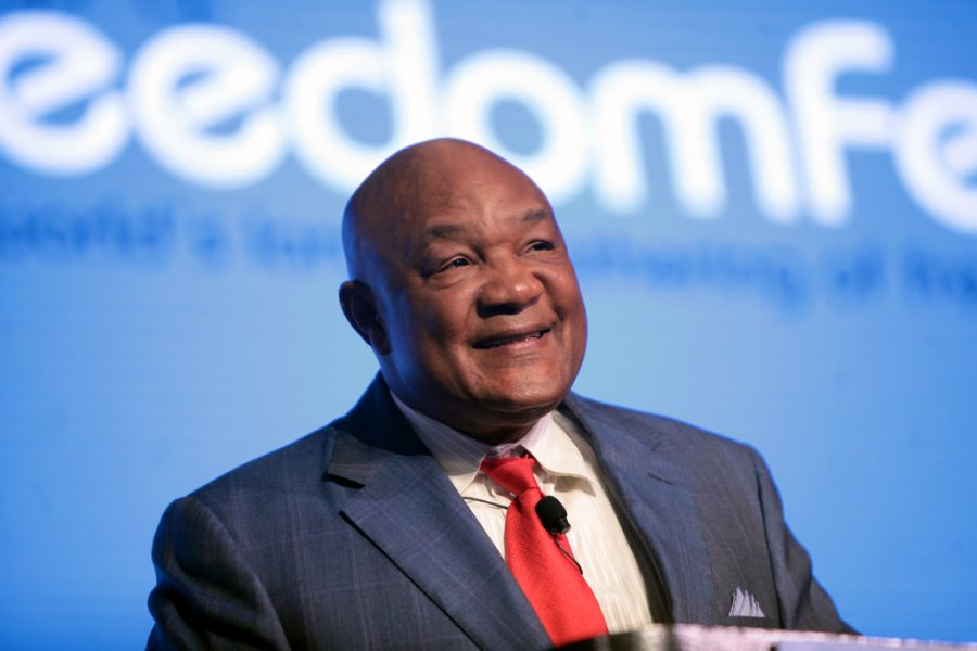 Seen here is a more current picture of George Foreman, who is a former heavyweight champion, and a boxing legend.