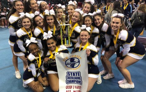The Competition Cheer team after winning their state title on February 16.