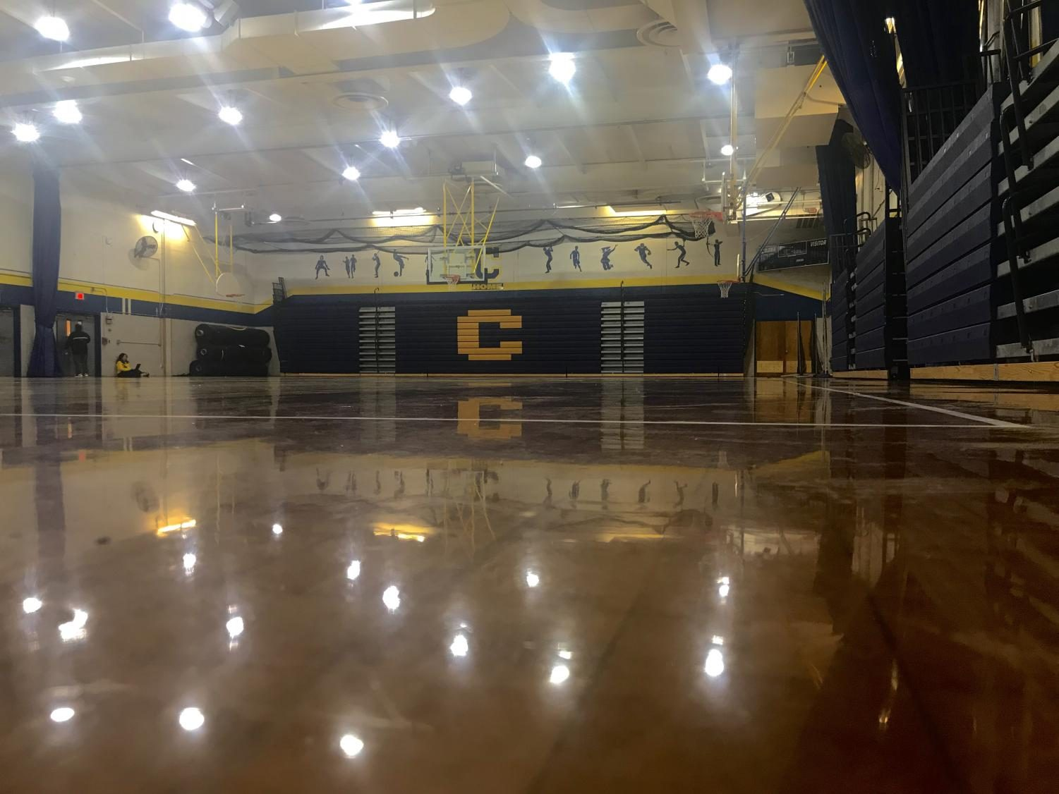 Colonia High Schools gym looking bright and shiny, perfect for kids who are looking to wake up a little by exercising!