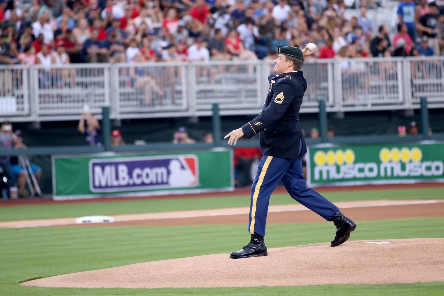 Seen here is a moment captured from the first pitch thrown out from the first MLB game played at Fort Bragg.