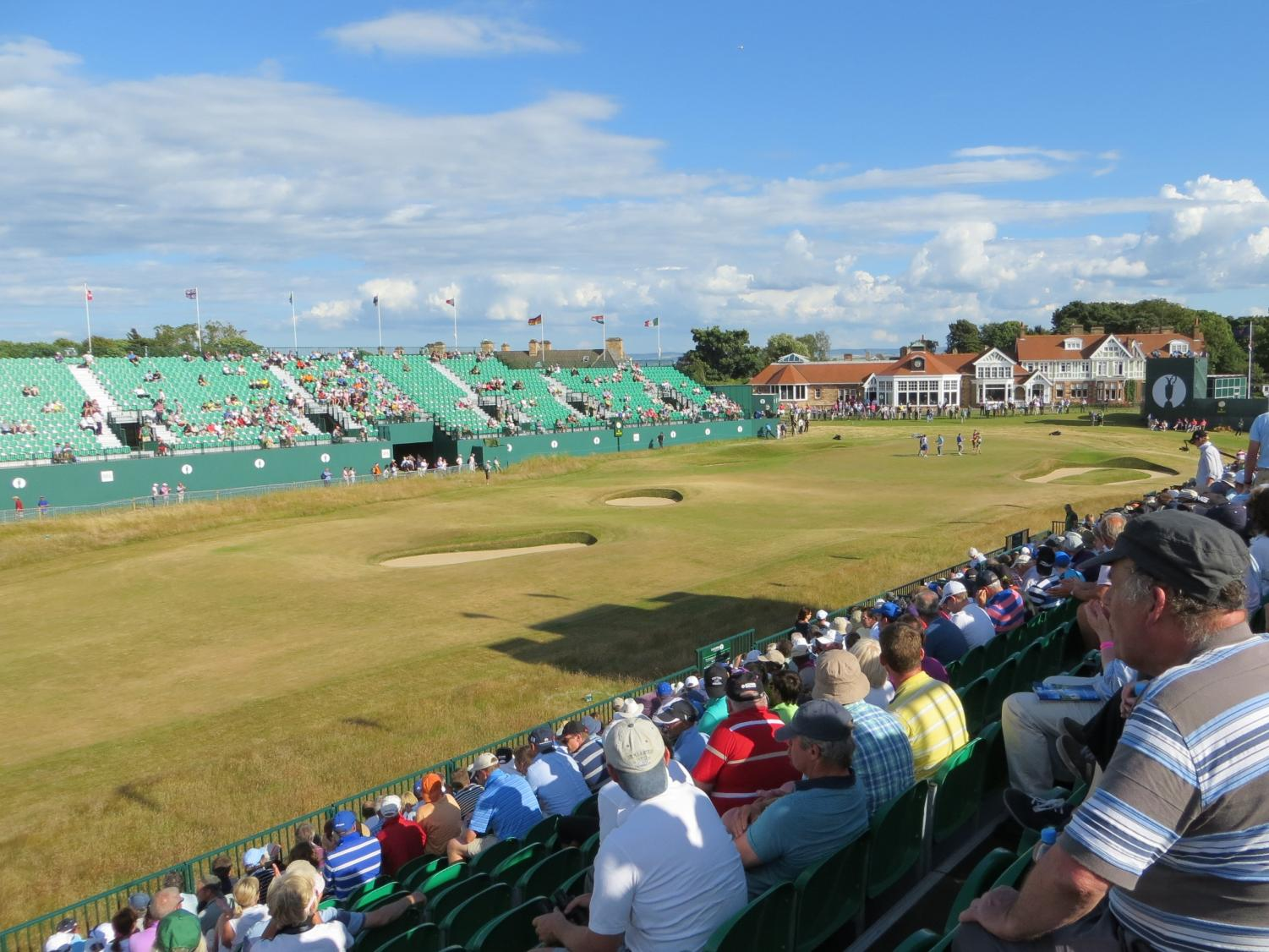 Seen here is Muirfield gold course on the 18th hole of the 2013 Open tournament.