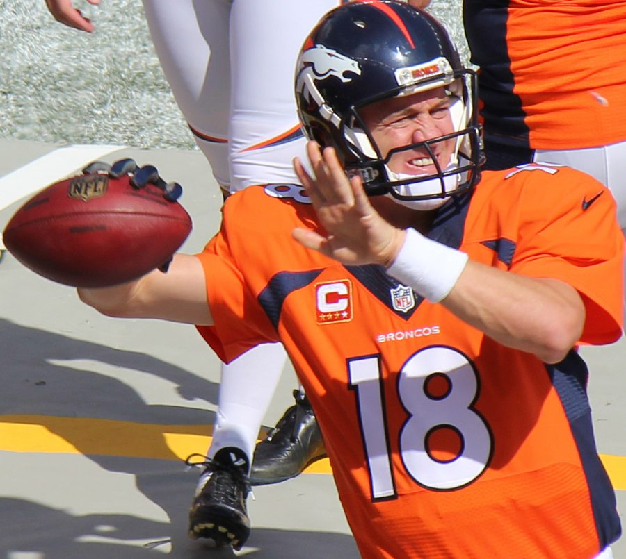 Seen+here+is+legendary+quarterback+Peyton+Manning+%28%2318%29%2C+throwing+a+pass+for+the+Denver+Broncos%2C+the+last+team+he+ever+suited+up+for.