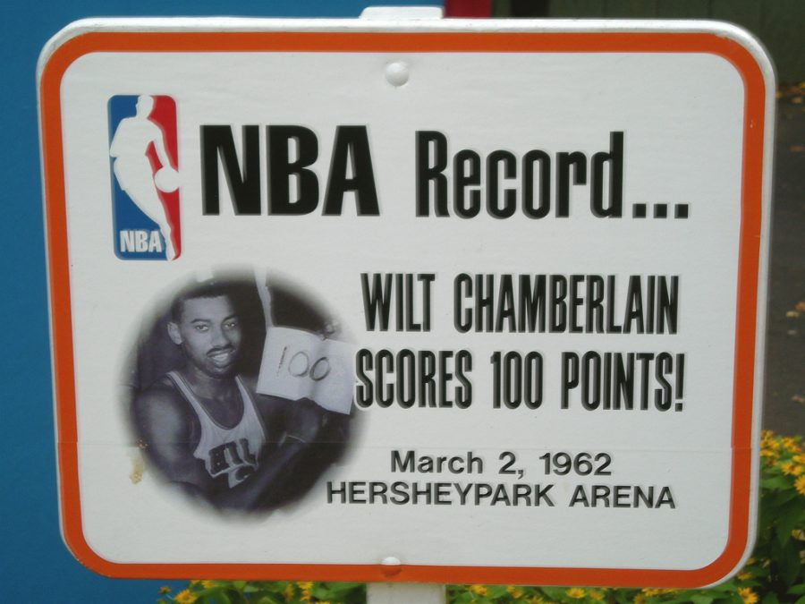 Seen here is a memorial outside of the arena where Wilt Chamberlain was able to score 100 points in a single NBA game.