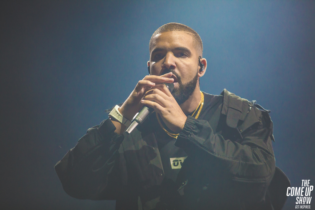 Rapping his new single One Dance, Drake, performs at the Summer Sixteen tour.