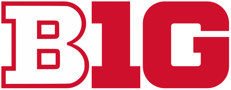Seen here is the Big Ten conference logo using Rutgers colors, as all their athletic teams joined the conference just a few years ago.