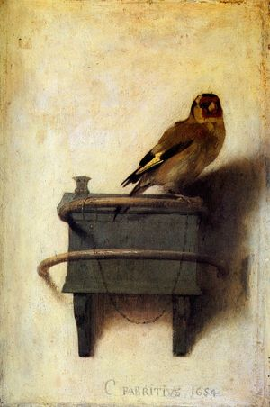 The Goldfinch, a painting by Carel Fabritius, was done for a patron of Fabritius'.