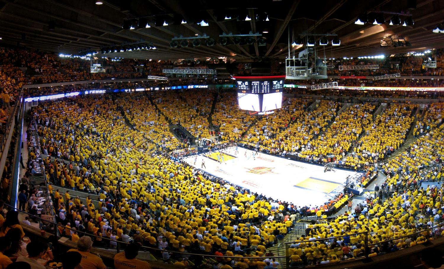 Hyping up the players as they enter the court, the sold out Oracle Arena can't wait for the last regular season game.