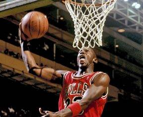 Seen here is NBA legend Michael Jordan going up for a layup against the Boston Celtics during the 1987 season.