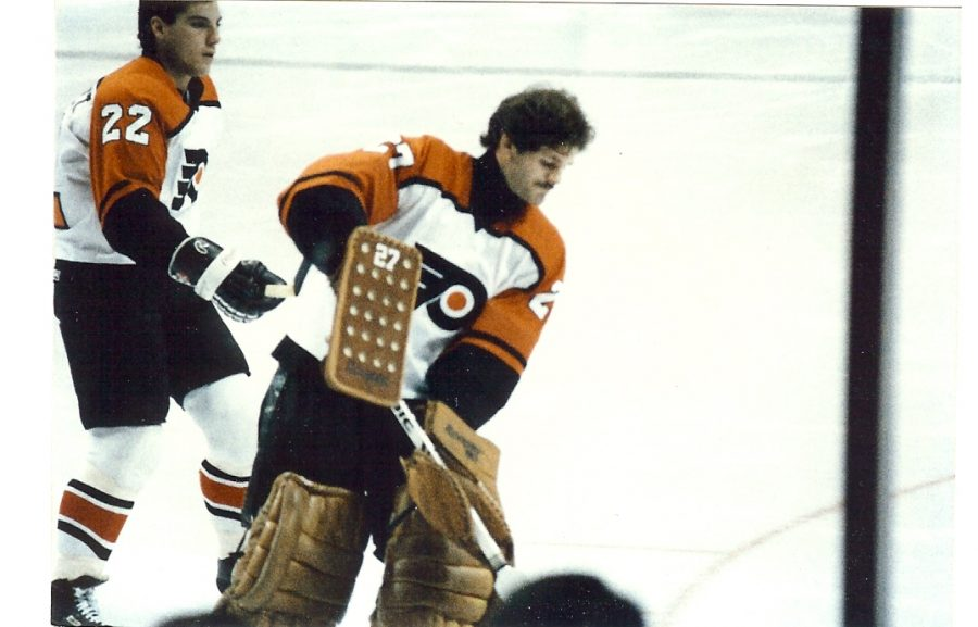 Seen here is former Philadelphia Flyers goalie Ron Hextall, warming up before a game in 1989.