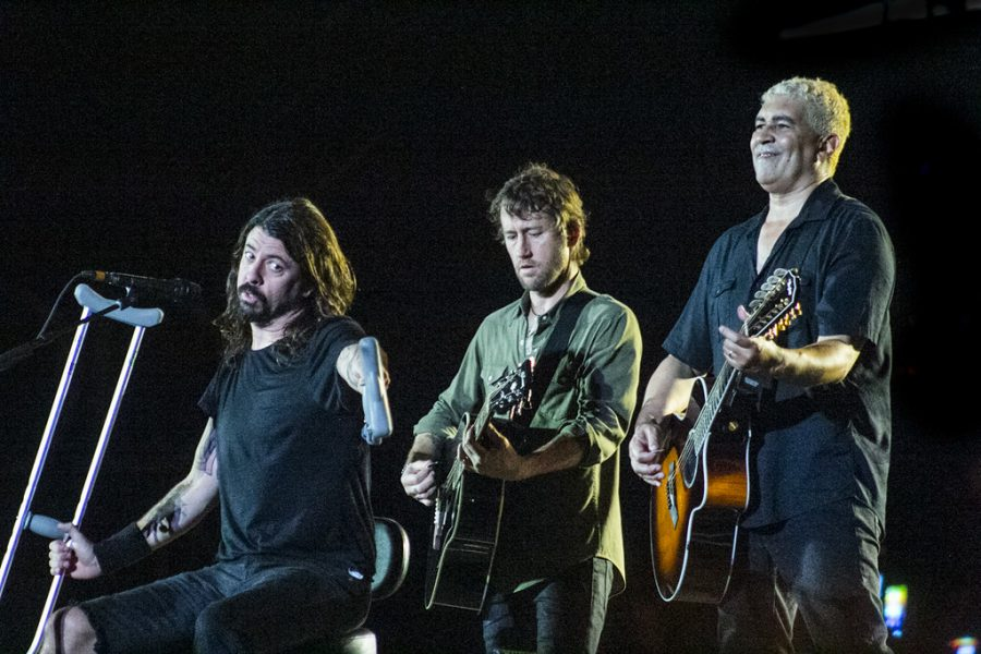 Singing from their new album, Foo Fighters perform at Fenway.