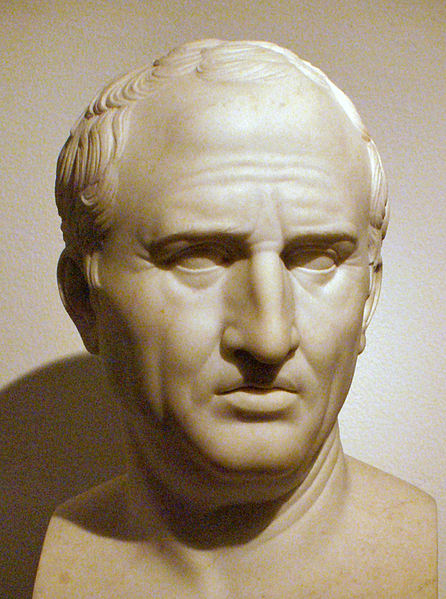 This is a sculpture of Roman Statesman, Marcus Tullius Cicero.