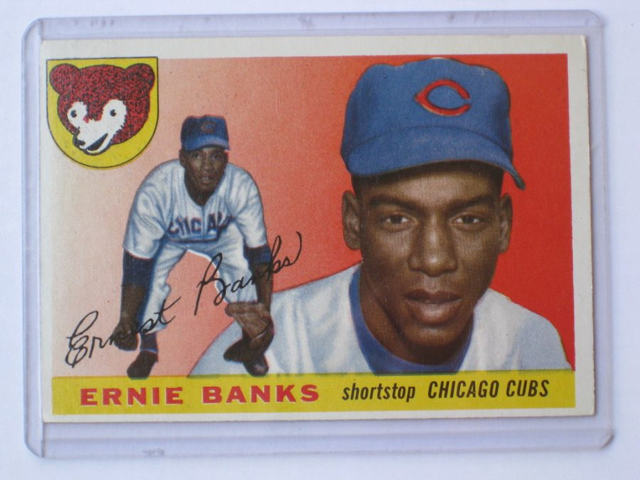 Seen here is a baseball card of Chicago Cubs legend Ernie Banks, who technically became the first African American manager in MLB history in 1973.