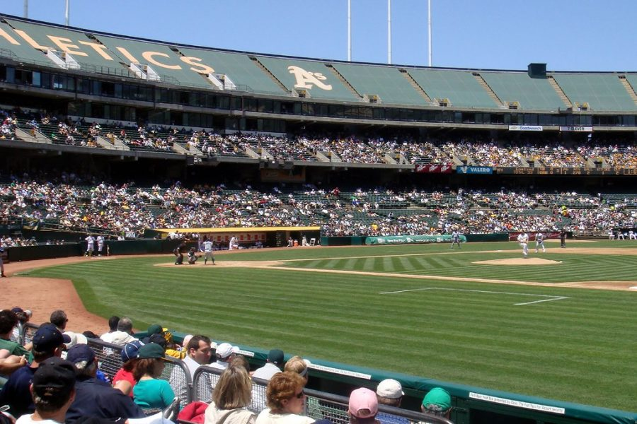 Seen here is the Oakland Coliseum during an Oakland Athletics game, where two players were able to steal home in the same inning of a game in 1980.