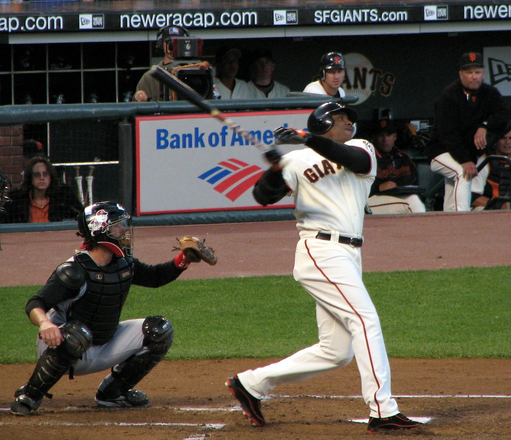 Seen here is MLB legend Barry Bonds hitting while playing for the San Francisco Giants, where he spent fifteen seasons.