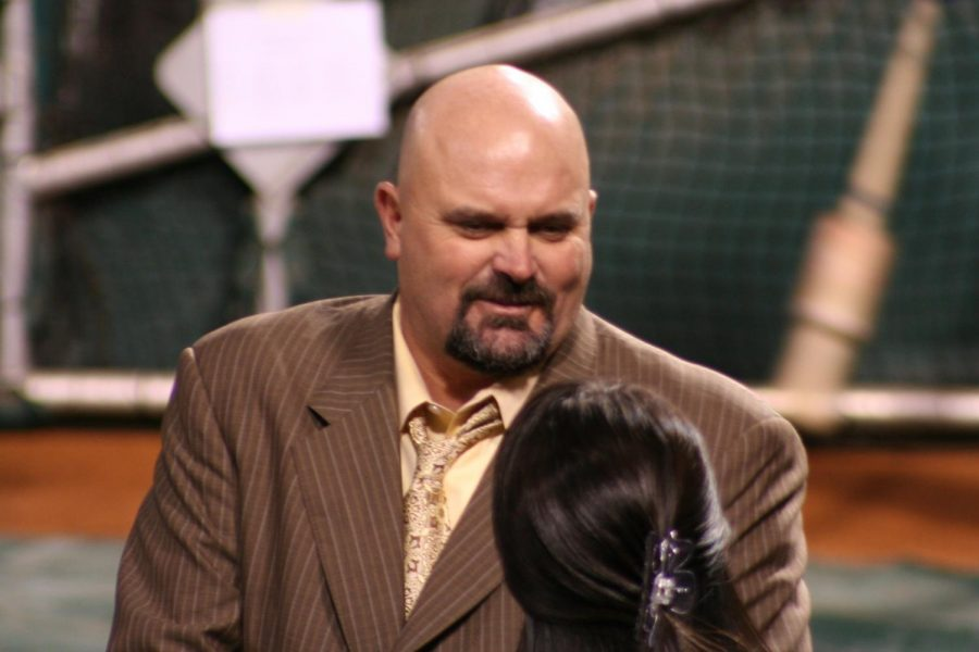 Seen here is former MLB pitcher and perfect game thrower David Wells just before going on air as a MLB analyst.