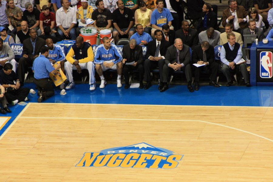 Seen here is the Denver Nuggets bench during one of their home games.