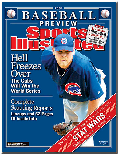 Seen here is a 2004 Sports Illustrated cover featuring Cubs star pitcher Kerry Wood, who was able to strike out twenty batters in just his fifth MLB start.