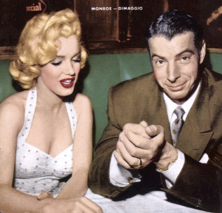 Seen+here+is+MLB+legend+and+the+holder+of+the+MLB%27s+longest+hitting+streak%2C+Joe+DiMaggio+eating+with+star+actress+Marilyn+Monroe.