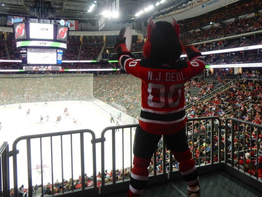 Seen+here+is+the+Devils+mascot+getting+the+crowd+hyped+up+for+one+of+their+home+games+at+the+Prudential+Center.