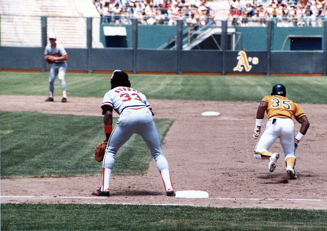 Seen+here+is+MLB+legend+Rickey+Henderson+%28right%29+stealing+second+base+as+a+member+of+the+Oakland+A%27s.