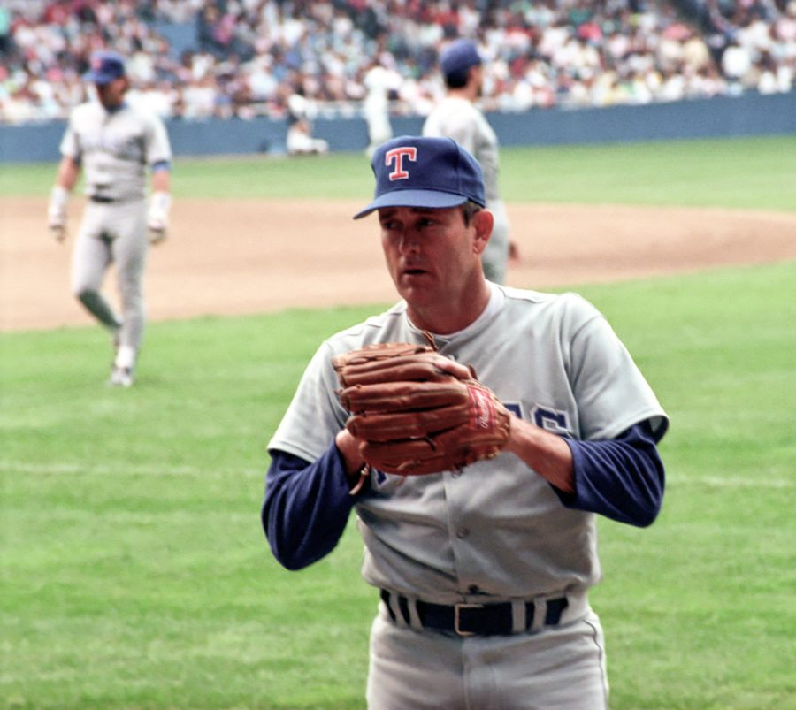 Seen here is MLB pitching legend Nolan Ryan playing as a member of the Detroit Tigers towards the end of his career.