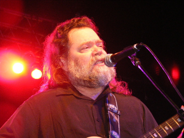 Singing at the concert, Roky Erickson performs one of his many hits.