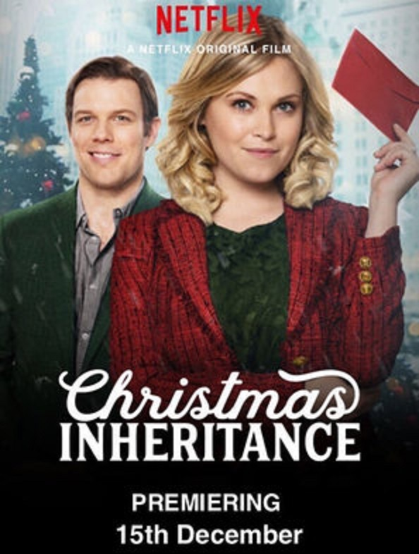 The two main characters of Christmas Inheritance; Ellen Langford and Jake Collins.