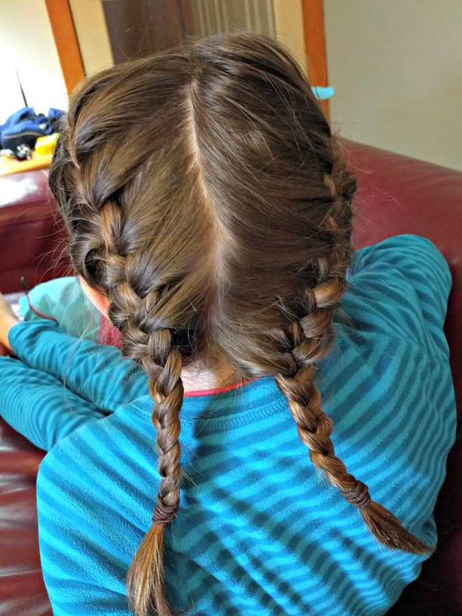 Rachel finally got the gist of how to make a french braid.