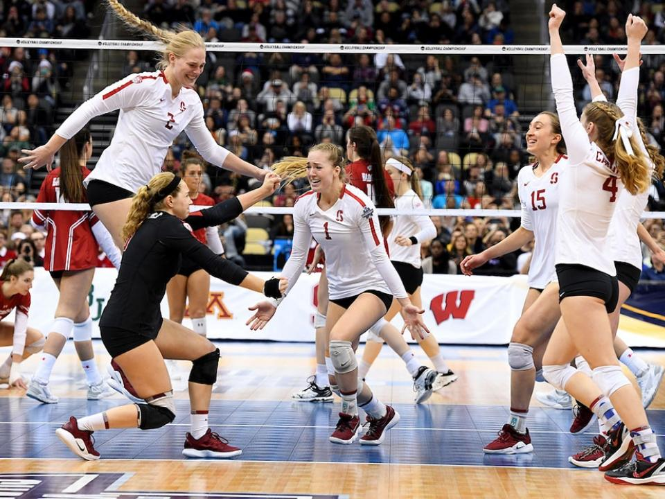 The Stanford volleyball team after they won the last point of the National Championship.