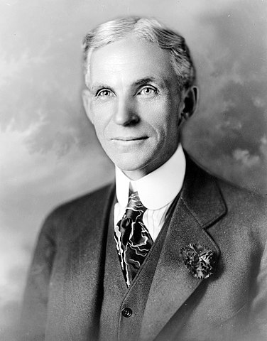 Henry Ford was an American industrialist and a business magnate, the founder of the Ford Motor Company, and the sponsor of the development of the assembly line technique of mass production.