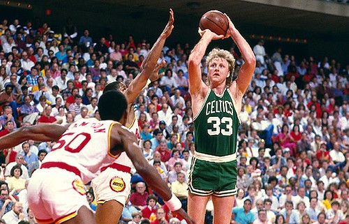 On this day in 1990 Larry bird (right) ended his free throw streak of 71 games