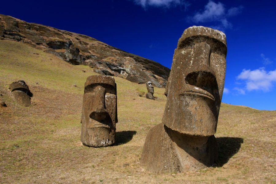 These heads are located in Easter Island, a Chilean territory