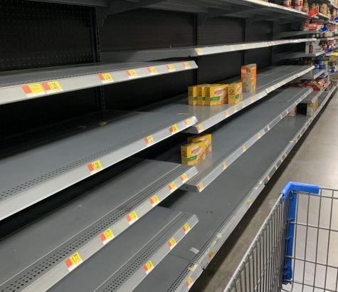 Empty shelves and empty cases, where the food will be no more. This is what many of the shelves at supermarkets and Walmarts look like when people panic.