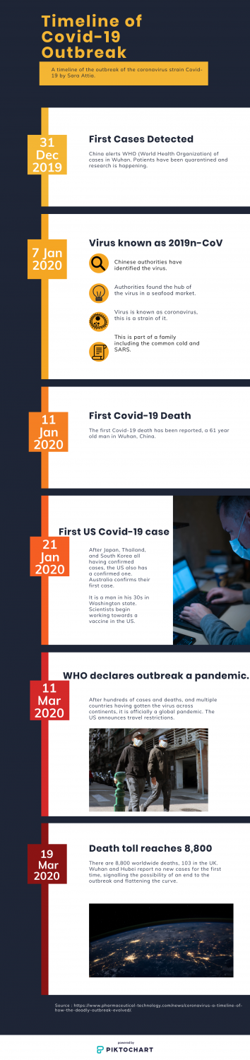 An infographic describing the Covid-19 outbreak, which has led people to hoarding supplies.
