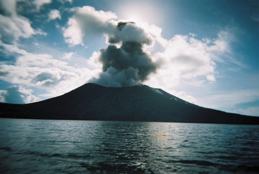 Volcanos form because of a hot spot on land