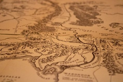 A map of Middle Earth that appears in the first Lord of the Rings book.
