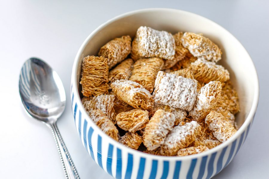 Different type of cereals include Frosted Flakes, Special K, and Captain Crunch