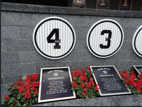 On this day in 1939 Lou Gehrig's (number 4) consecutive game streak ended